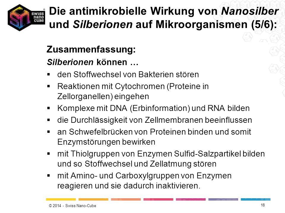 Die antimikrobielle Wirkung von Nanosilber und Silberionen auf Mikroorganismen (5/6):