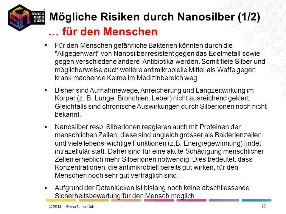 Mögliche Risiken durch Nanosilber (1/2) … für den Menschen