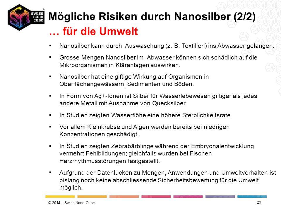 Mögliche Risiken durch Nanosilber (2/2) … für die Umwelt