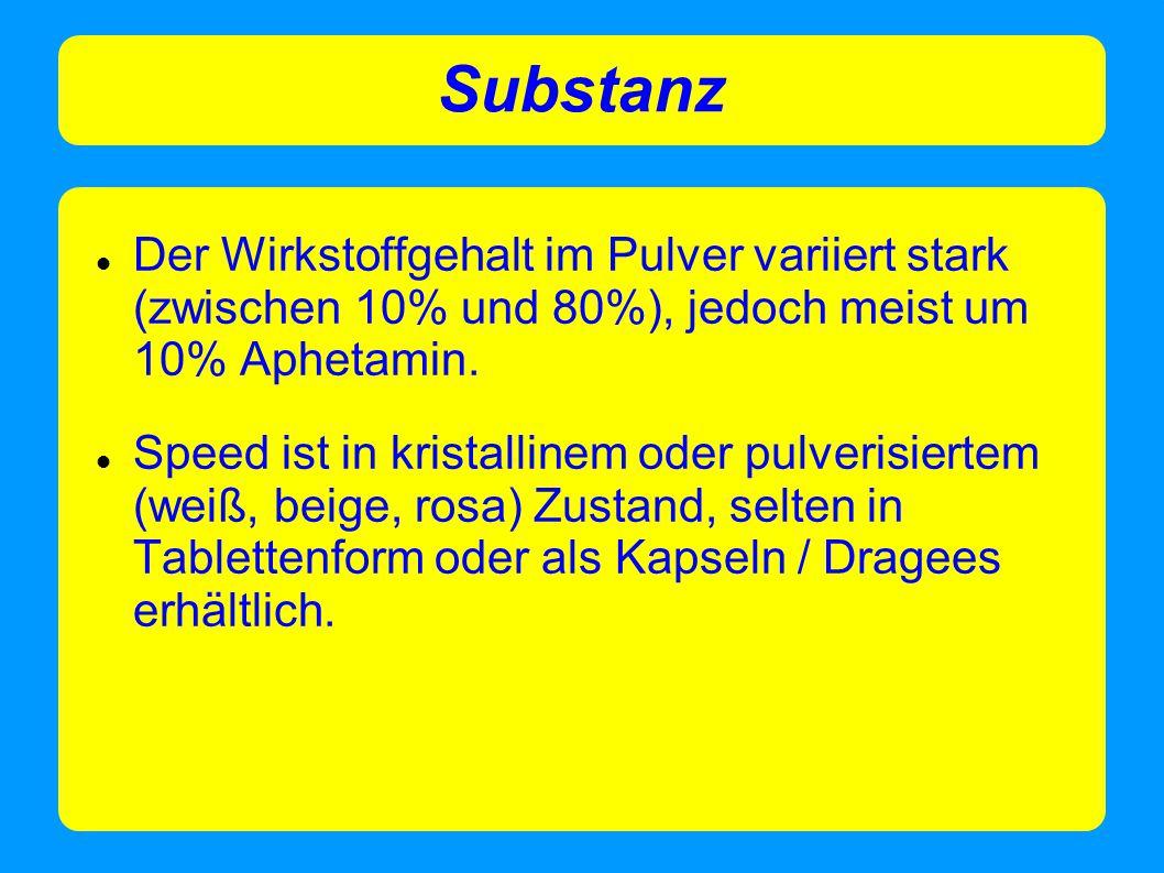 Substanz Der Wirkstoffgehalt im Pulver variiert stark (zwischen 10% und 80%), jedoch meist um 10% Aphetamin.