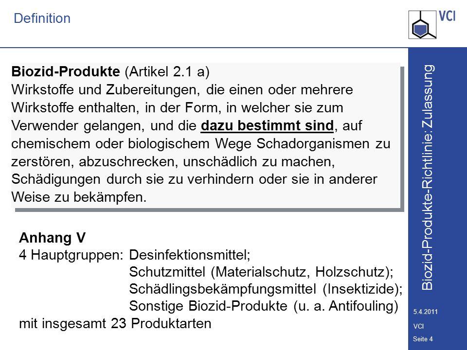 Anhang V 4 Hauptgruppen: Desinfektionsmittel;