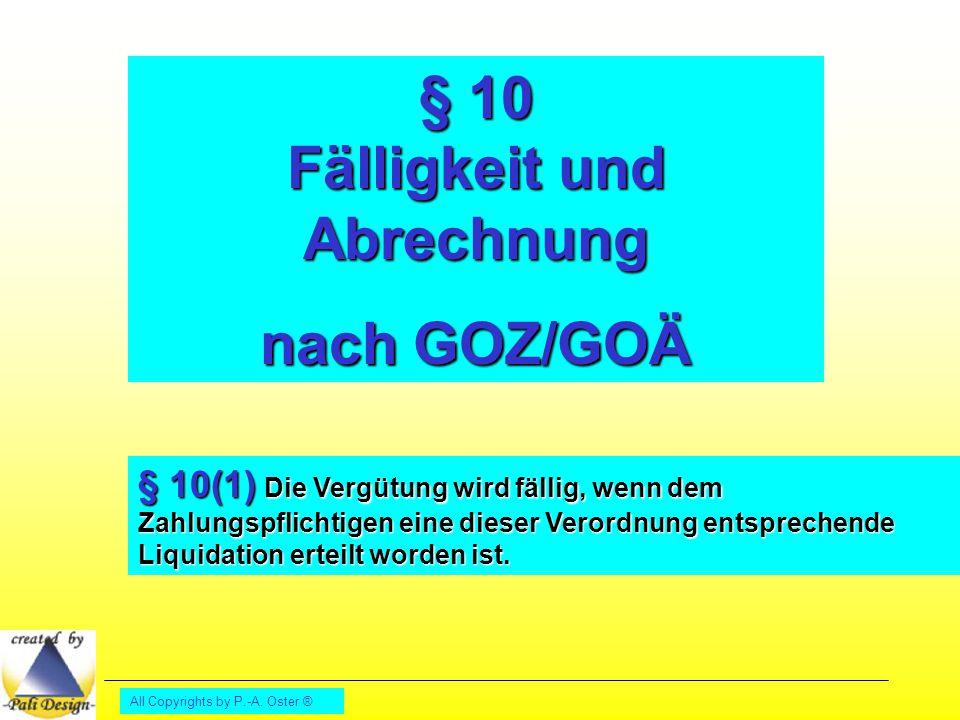 § 10 Fälligkeit und Abrechnung