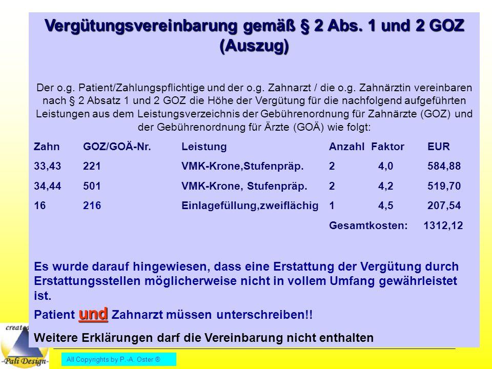 Vergütungsvereinbarung gemäß § 2 Abs. 1 und 2 GOZ (Auszug)