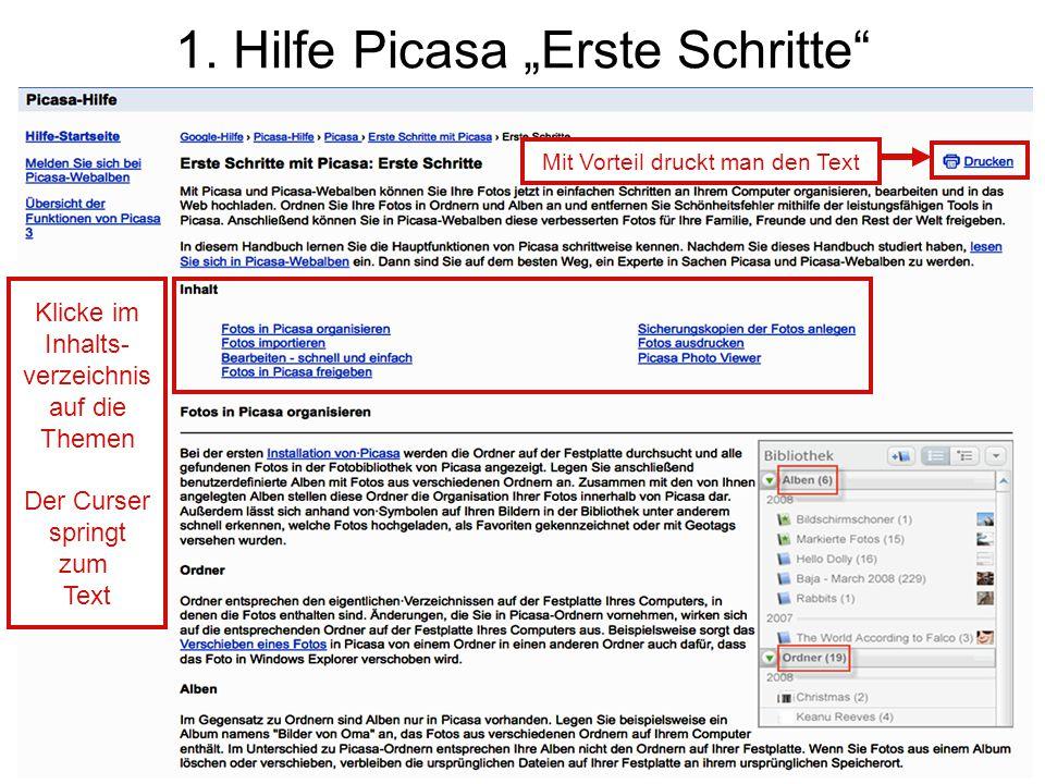 """1. Hilfe Picasa """"Erste Schritte"""