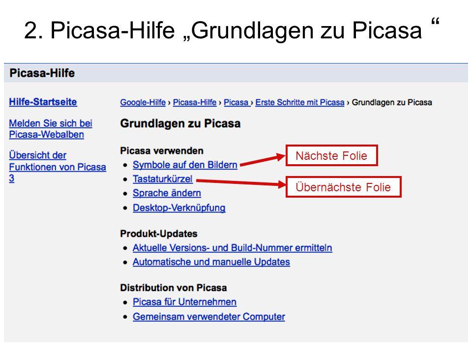 """2. Picasa-Hilfe """"Grundlagen zu Picasa"""