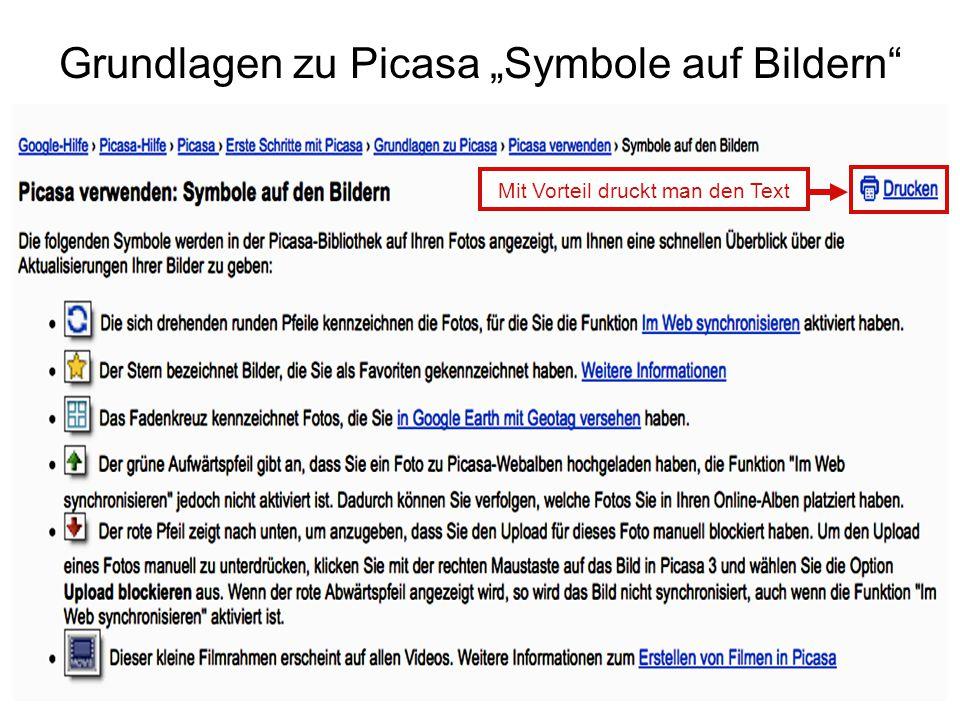 """Grundlagen zu Picasa """"Symbole auf Bildern"""