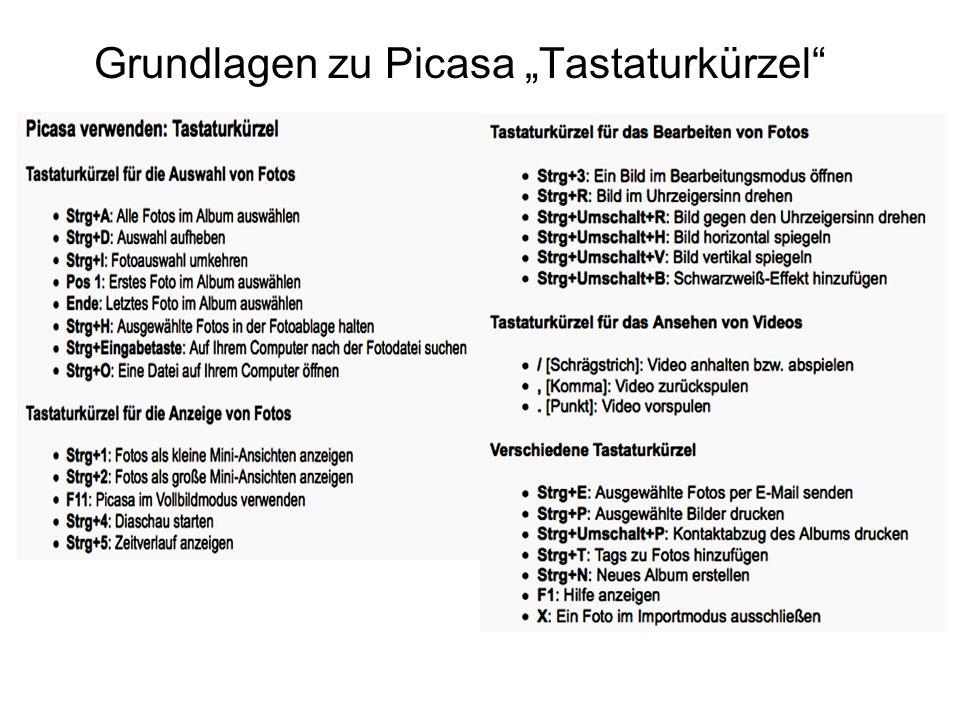 """Grundlagen zu Picasa """"Tastaturkürzel"""