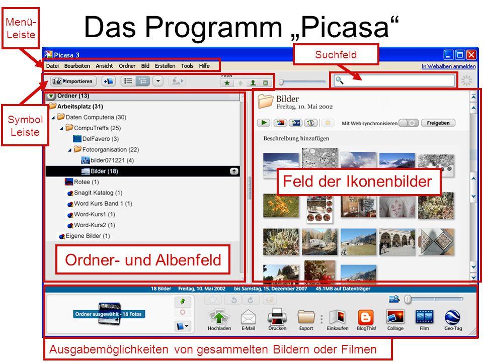 """Das Programm """"Picasa Feld der Ikonenbilder Ordner- und Albenfeld"""
