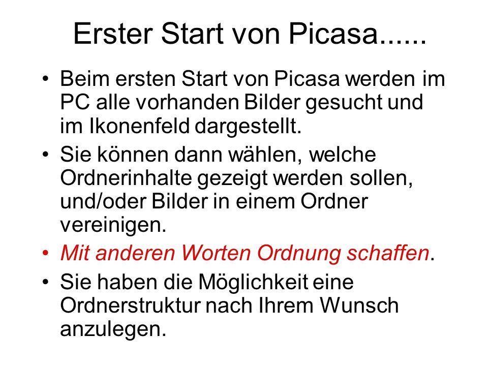 Erster Start von Picasa......