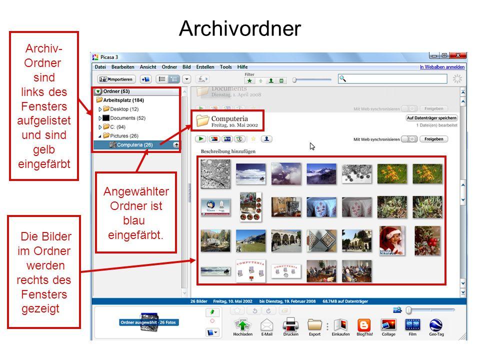 Archivordner Archiv- Ordner sind links des Fensters
