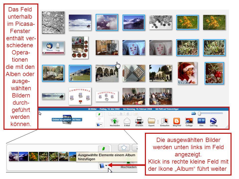 Die ausgewählten Bilder werden unten links im Feld angezeigt.