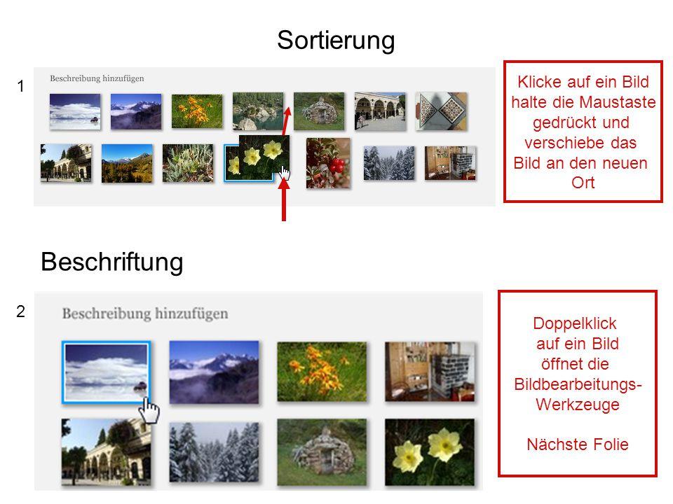 Sortierung Beschriftung Klicke auf ein Bild 1