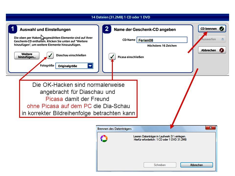 Die OK-Hacken sind normalerweise angebracht für Diaschau und