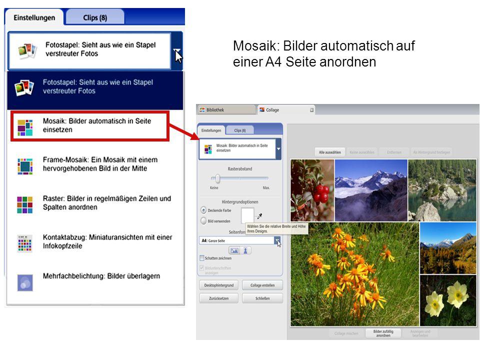 Mosaik: Bilder automatisch auf einer A4 Seite anordnen