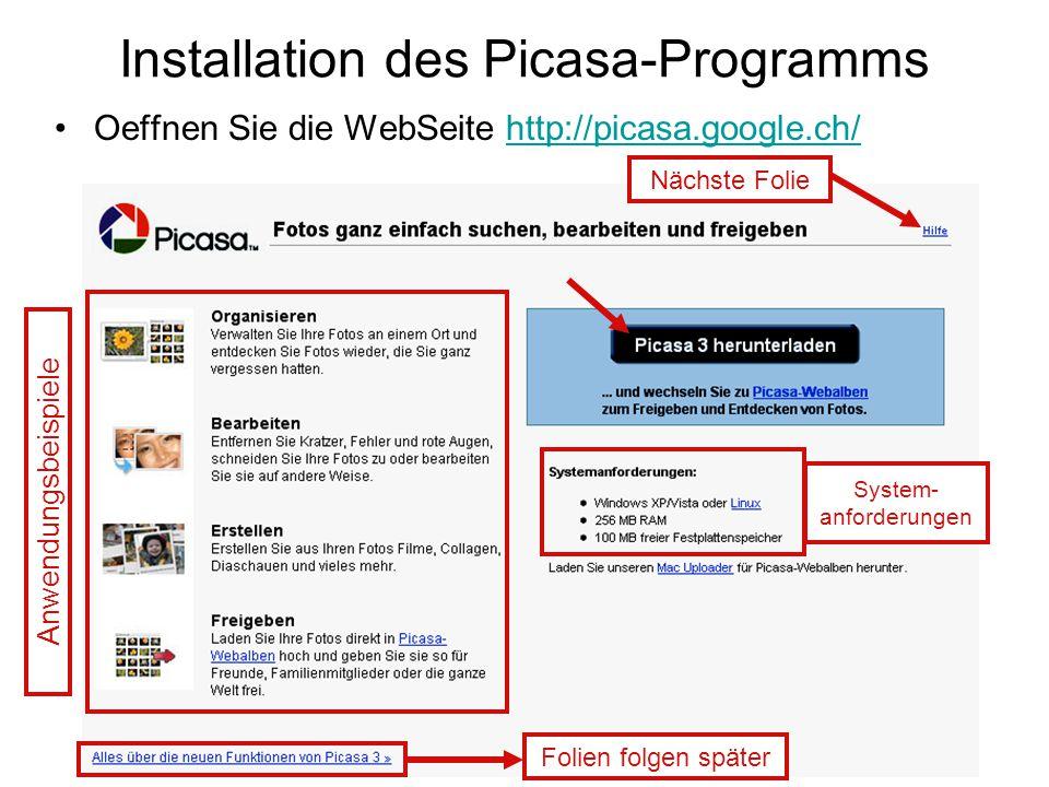 Installation des Picasa-Programms