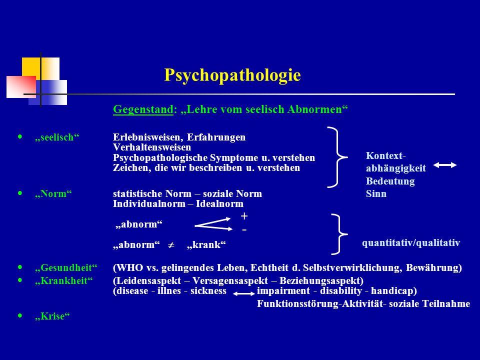 """Psychopathologie Gegenstand: """"Lehre vom seelisch Abnormen - +"""