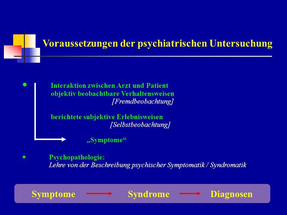 Voraussetzungen der psychiatrischen Untersuchung
