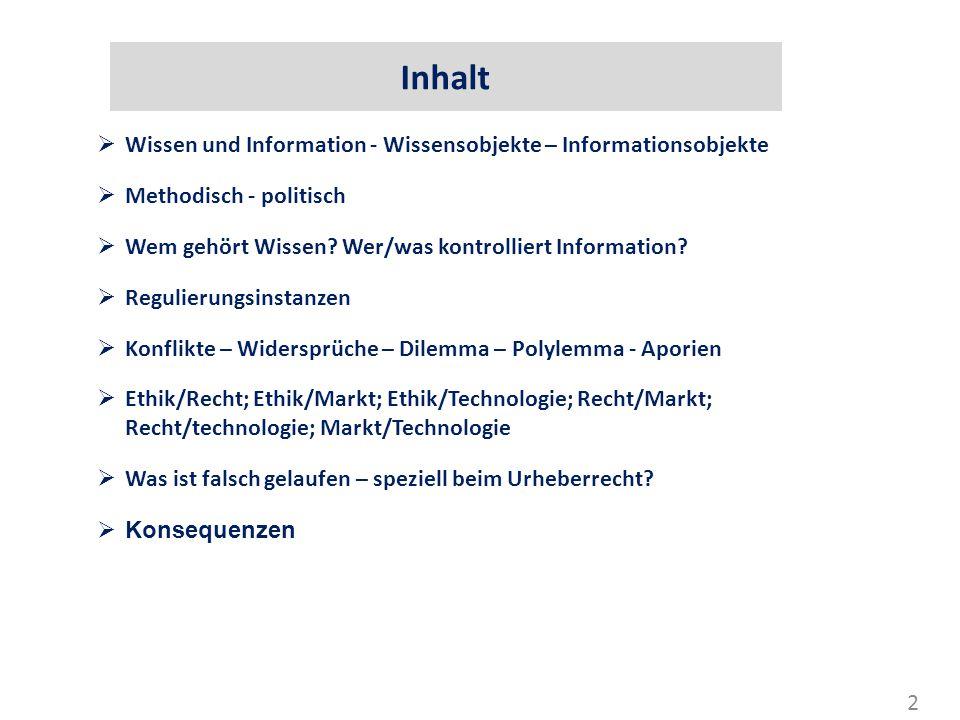 Inhalt Wissen und Information - Wissensobjekte – Informationsobjekte