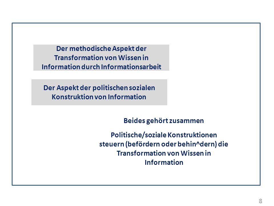Der Aspekt der politischen sozialen Konstruktion von Information