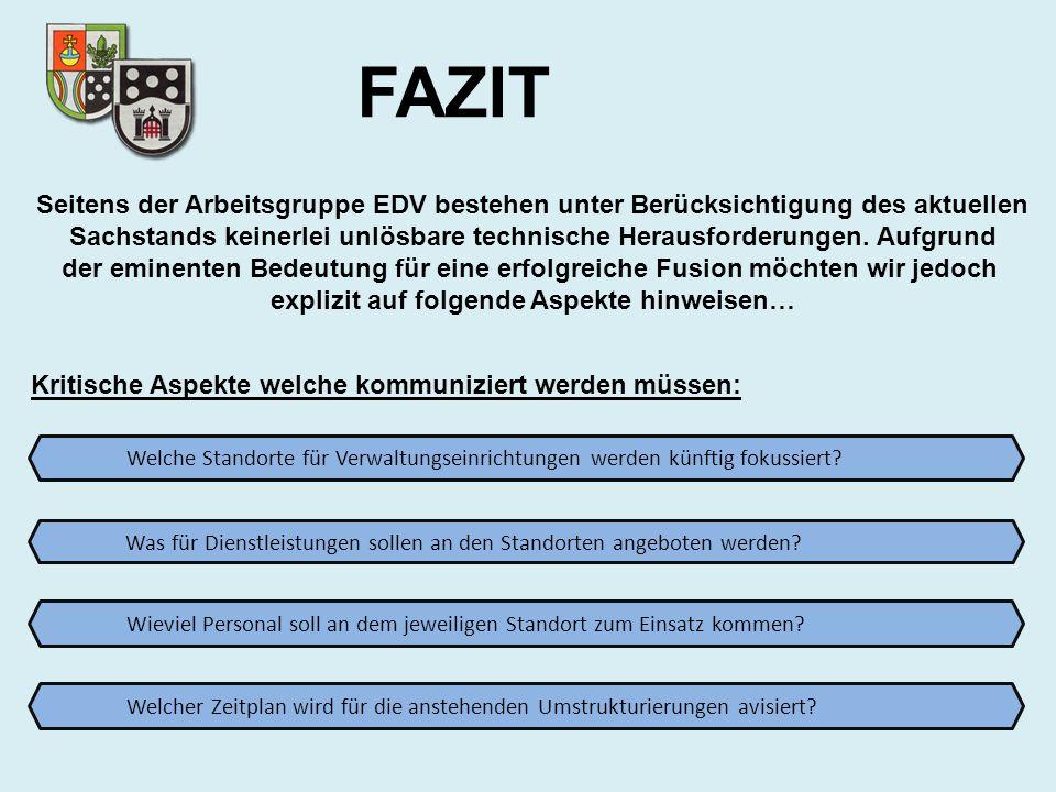 FAZIT Seitens der Arbeitsgruppe EDV bestehen unter Berücksichtigung des aktuellen.