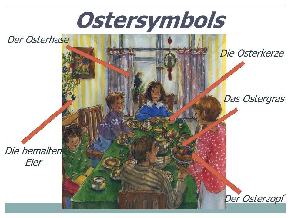 Ostersymbols Der Osterhase Die Osterkerze Das Ostergras