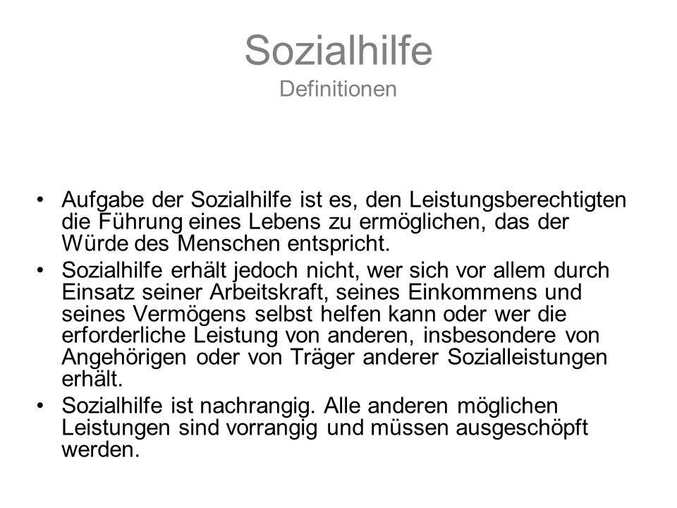 Sozialhilfe Definitionen