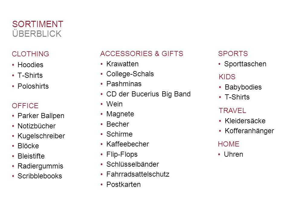 SORTIMENT ÜBERBLICK CLOTHING SPORTS ACCESSORIES & GIFTS Hoodies