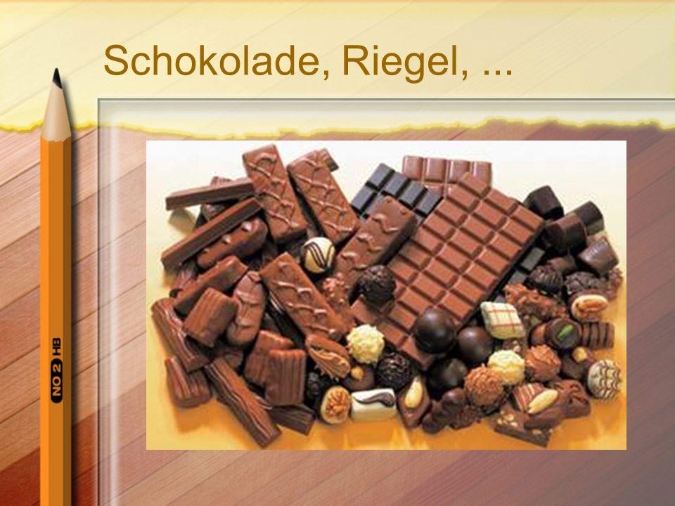 Schokolade, Riegel, ...