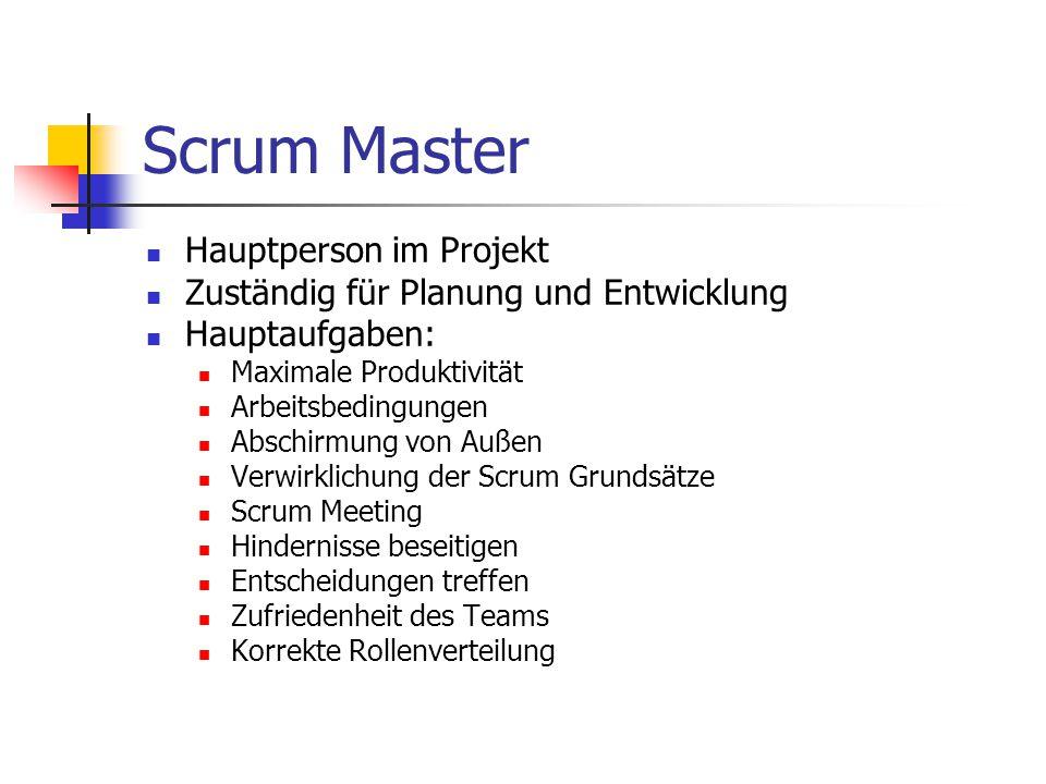 Scrum Master Hauptperson im Projekt