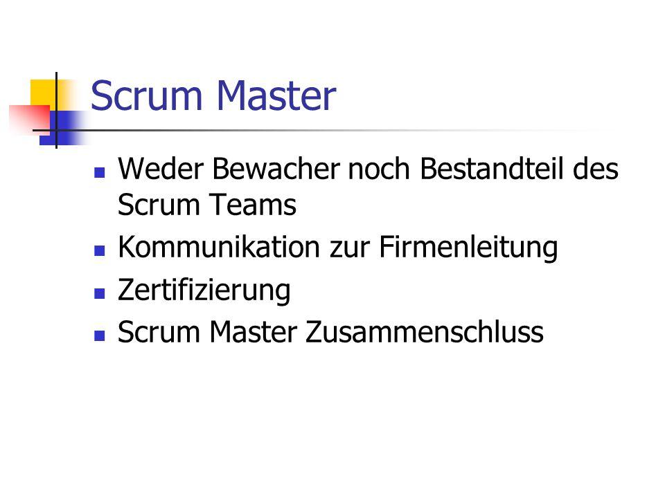 Scrum Master Weder Bewacher noch Bestandteil des Scrum Teams