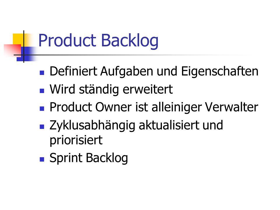 Product Backlog Definiert Aufgaben und Eigenschaften