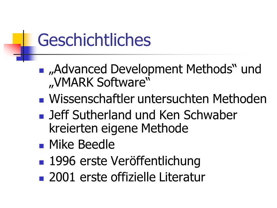 "Geschichtliches ""Advanced Development Methods und ""VMARK Software"