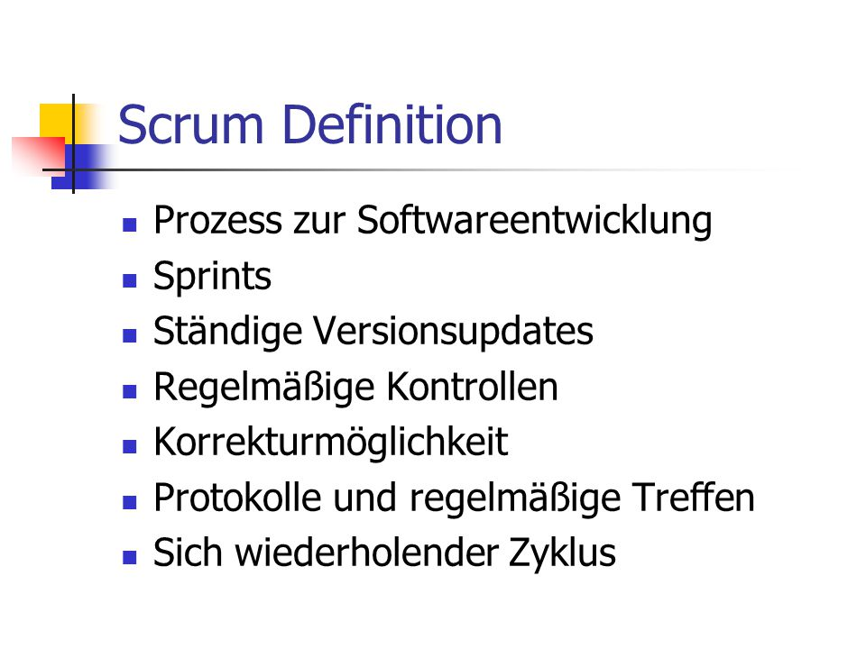 Scrum Definition Prozess zur Softwareentwicklung Sprints