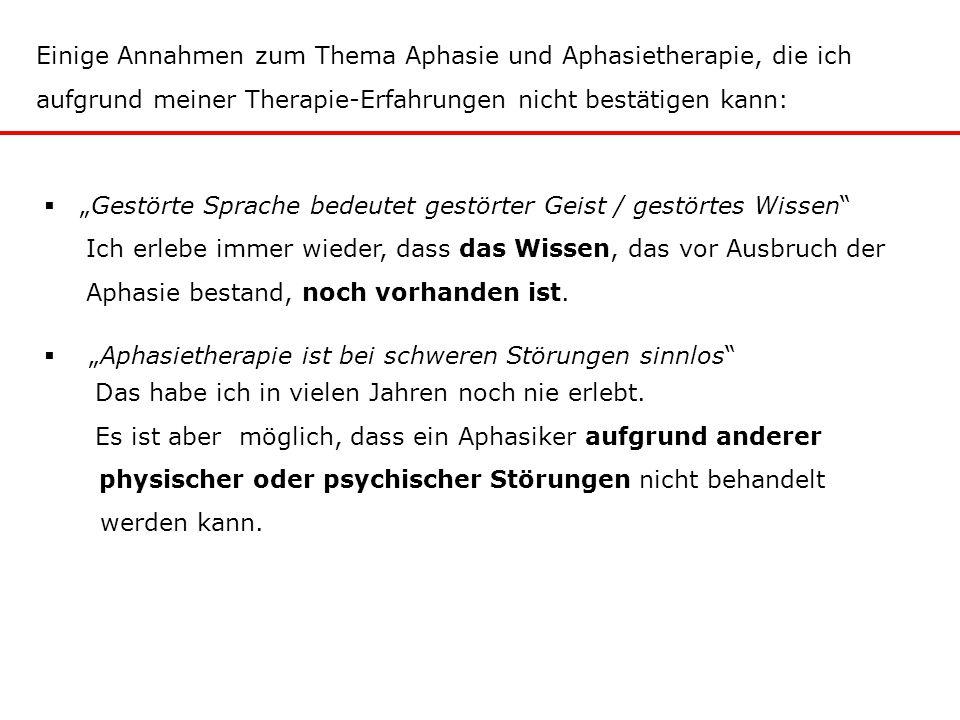 Einige Annahmen zum Thema Aphasie und Aphasietherapie, die ich