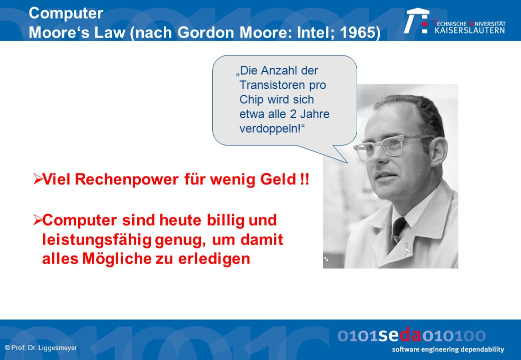 Computer Moore's Law (nach Gordon Moore: Intel; 1965)