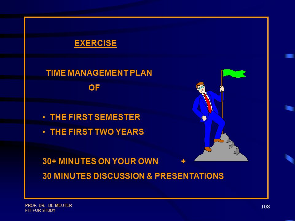 EXERCISE TIME MANAGEMENT PLAN OF THE FIRST SEMESTER