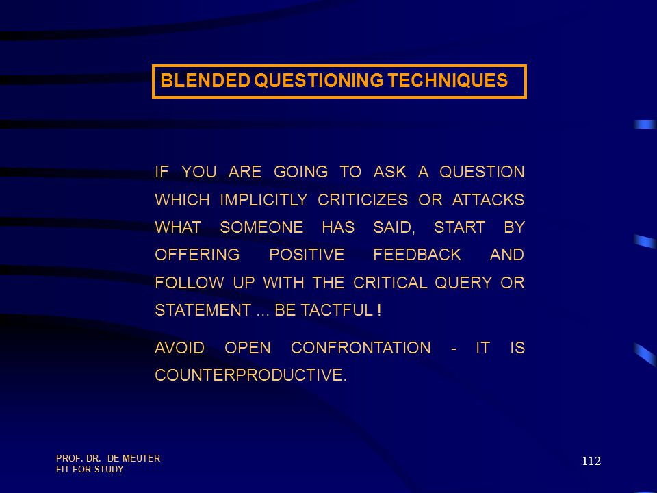 BLENDED QUESTIONING TECHNIQUES