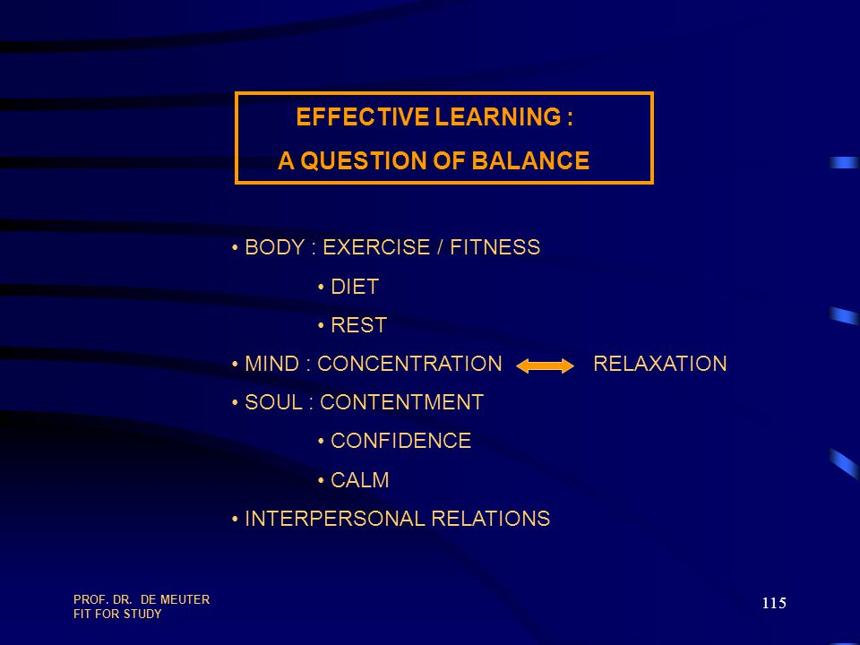 EFFECTIVE LEARNING : A QUESTION OF BALANCE BODY : EXERCISE / FITNESS
