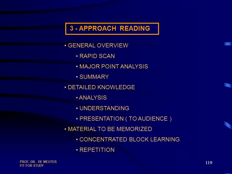 3 - APPROACH READING GENERAL OVERVIEW RAPID SCAN MAJOR POINT ANALYSIS