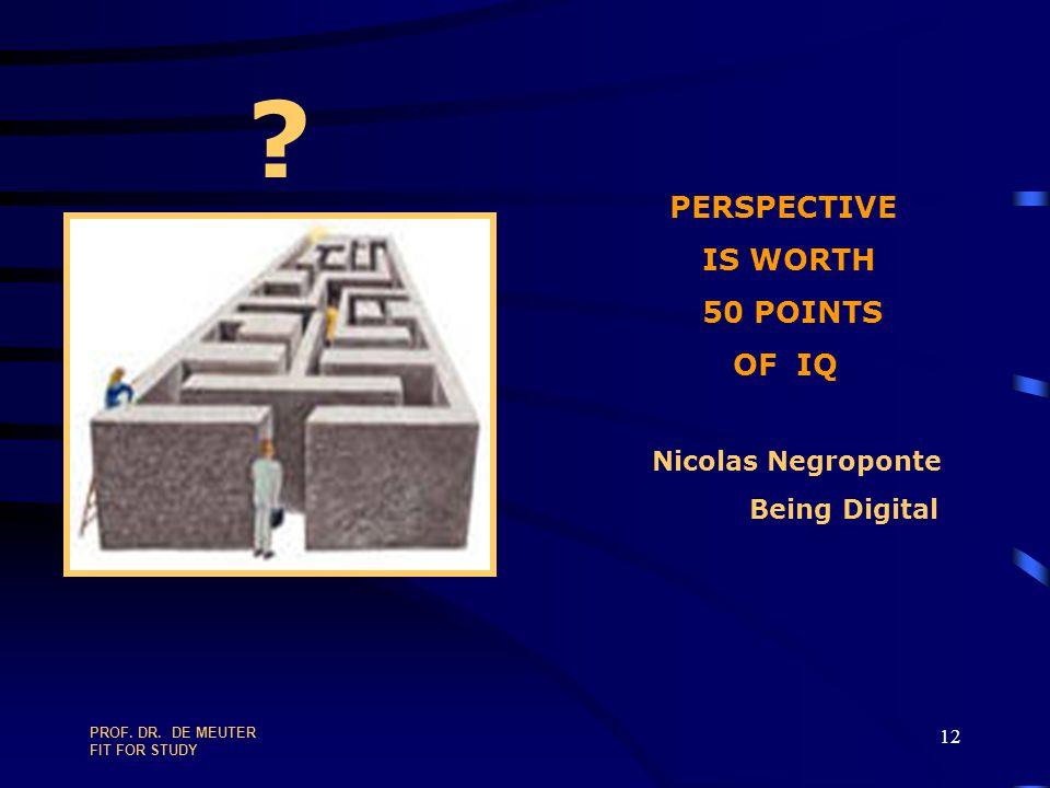 IS WORTH 50 POINTS OF IQ PERSPECTIVE Nicolas Negroponte