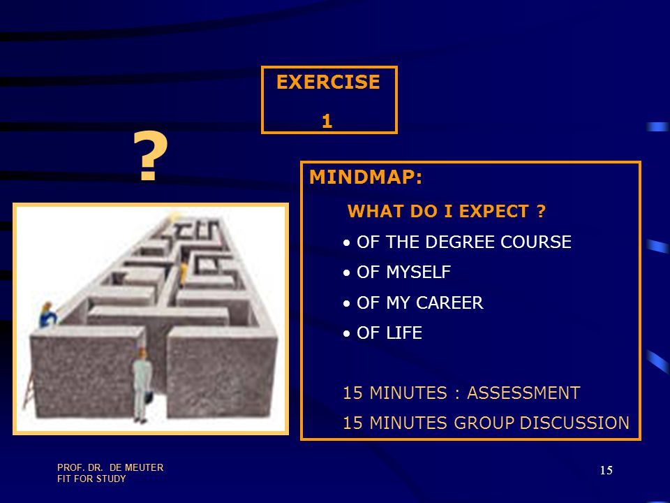 EXERCISE 1 MINDMAP: WHAT DO I EXPECT OF THE DEGREE COURSE