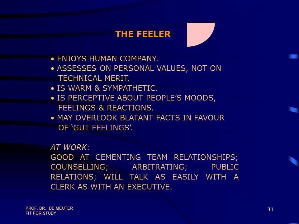 THE FEELER ENJOYS HUMAN COMPANY. ASSESSES ON PERSONAL VALUES, NOT ON