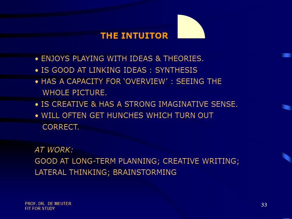 THE INTUITOR ENJOYS PLAYING WITH IDEAS & THEORIES.