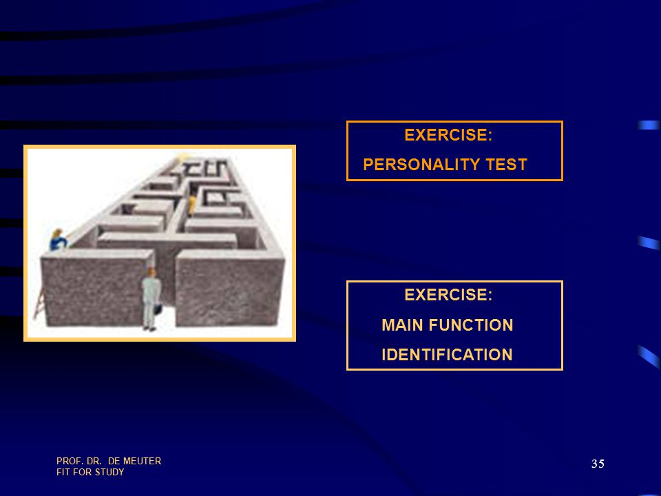 EXERCISE: PERSONALITY TEST EXERCISE: MAIN FUNCTION IDENTIFICATION