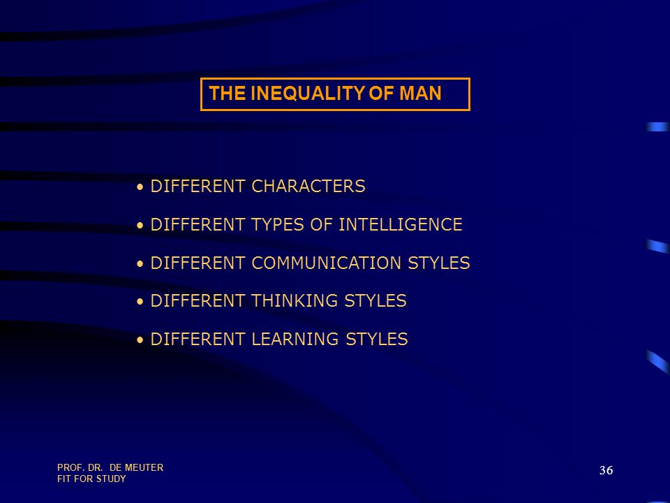 THE INEQUALITY OF MAN DIFFERENT CHARACTERS