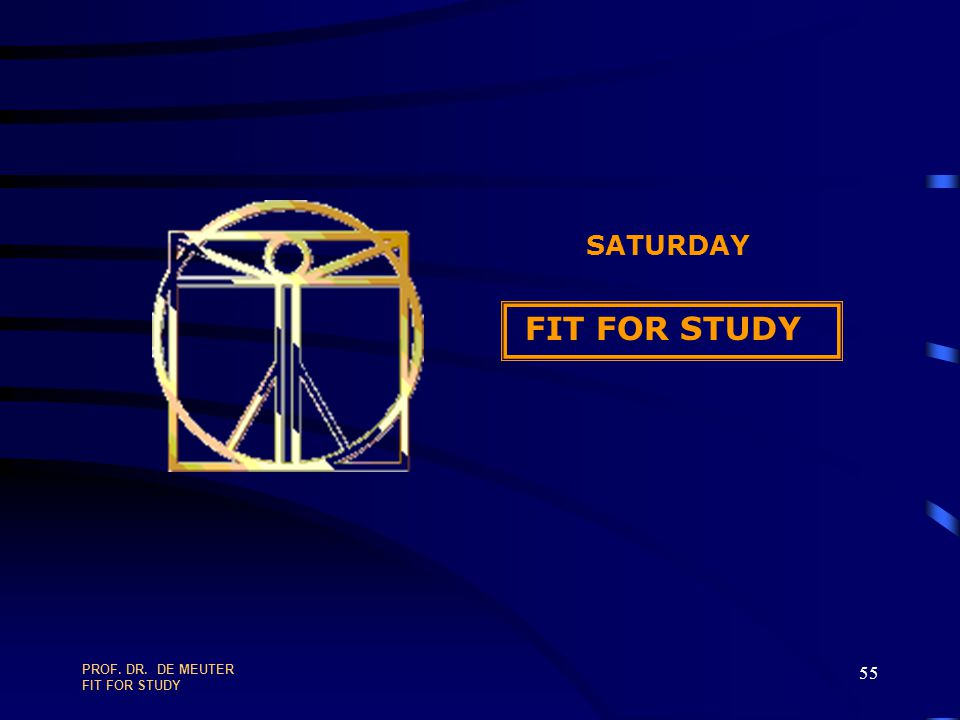 SATURDAY FIT FOR STUDY PROF. DR. DE MEUTER FIT FOR STUDY