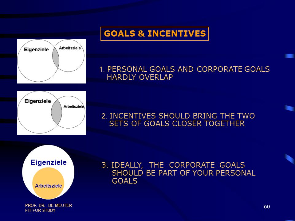 GOALS & INCENTIVES 1. PERSONAL GOALS AND CORPORATE GOALS
