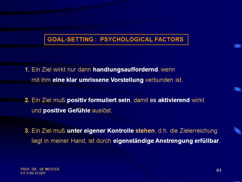 GOAL-SETTING : PSYCHOLOGICAL FACTORS
