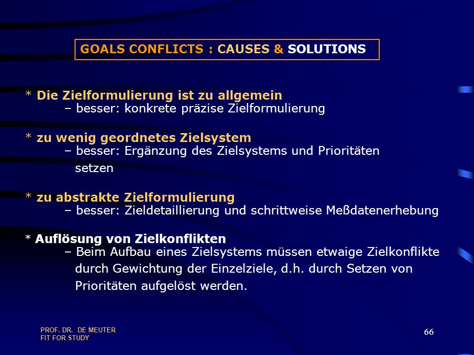 GOALS CONFLICTS : CAUSES & SOLUTIONS