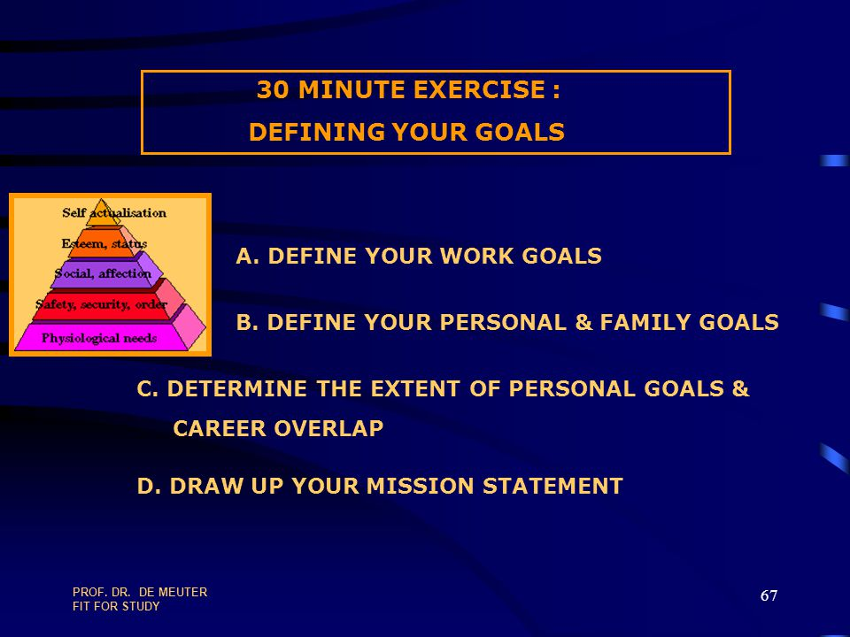 30 MINUTE EXERCISE : DEFINING YOUR GOALS A. DEFINE YOUR WORK GOALS